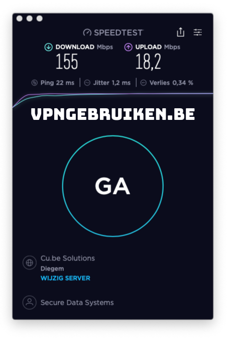 Snelheidstest Surfshark VPN server België - https://vpngebruiken.be