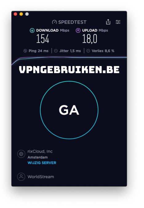 Snelheidstest Surfshark VPN server Nederland - https://vpngebruiken.be